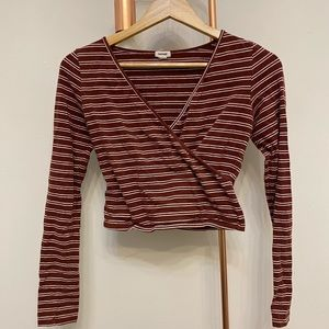 Striped, long sleeve, v-neck shirt.